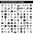 100 philanthropy icons set simple style vector image vector image