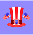 american hat with two starry flags on blue vector image