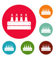 beer crate icons circle set vector image vector image