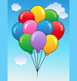 blue sky with cartoon balloons 1 vector image vector image