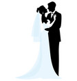 bride and groom silhouettes vector image vector image