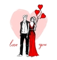 Couple with balloons vector image vector image