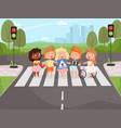 crossroad rulles children learning safety road vector image vector image