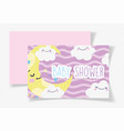 cute moon and clouds cartoon bashower card vector image