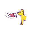 dog feeding rgb color icon vector image