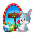 easter bunny and eggs with frame egg vector image vector image