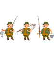 fisherman in different poses vector image vector image