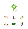 flat icon plant set of florist sow man and other vector image