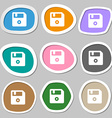 floppy icon symbols Multicolored paper stickers vector image vector image