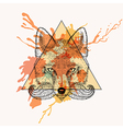 Fox face with bread in triangle frame with vector image