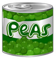 fresh peas in aluminum can vector image vector image