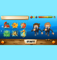 game template with divers and fish vector image vector image