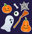 halloween stickers made of hand painting vector image