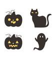 happy halloween dark pumpkins cat and ghost trick vector image vector image