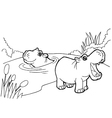 hippopotamus cartoon coloring pages vector image