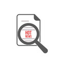 hot news word magnifying glass vector image vector image