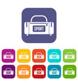 large sports bag icons set vector image vector image