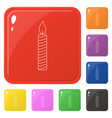 line style candle icons set 8 colors isolated on vector image vector image