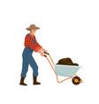 man farmer carries wheelbarrow full dirt manure vector image