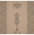 mannequin and chandelier with lace border vector image