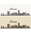 Miami skyline engraved hand drawn sketch vector image