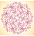 Pink doodle vintage flowers circle background vector image vector image