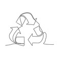 recycle sign one line drawing vector image vector image