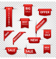 red ribbon labels big sale new offer vector image vector image