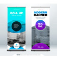 roll up banner stand presentation concept vector image vector image