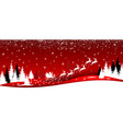 santa and deer on the background of the winter vector image