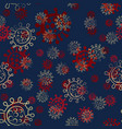 seamless pattern virus simple doodle red and vector image