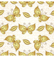 Seamless white pattern with gold butterflies vector image vector image
