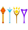 set different magic wands isolated on white vector image vector image