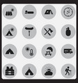 set of 16 editable camping icons includes symbols vector image vector image