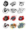 set of animal heads vector image vector image
