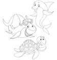 Shark turtle and dolphin vector image vector image