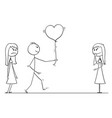 stick character cartoon of loving man or boy vector image vector image