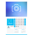 wall calendar planner print template for 2017 year vector image vector image