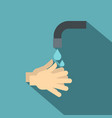 washing hands under running water icon flat style vector image vector image