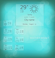 Weather widget template 2 vector image vector image