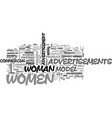 women in advertisements text word cloud concept vector image vector image
