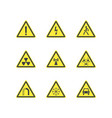 yellow warning hazard triangle signs set vector image