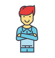 young handsome man standing with folded arms vector image