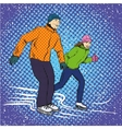 Man and woman ice skating in vector image