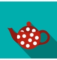Red spotty teapot icon flat style vector image