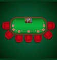 poker table with chairs and cards chips template vector image
