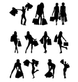 Shopping family and girls silhouettes vector image