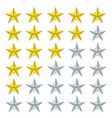 5 star rating golden and silver vector image