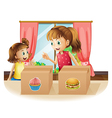 A woman and a young girl near the two boxes vector image vector image