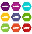 arrow to right icon set color hexahedron vector image vector image